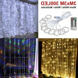 300LED/10ft Curtain Fairy Hanging String Lights Wedding Bedr
