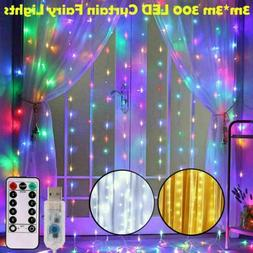 300LED / 10ft Curtain Fairy Hanging String Lights LED Home W