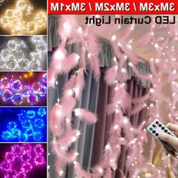 300LED Curtain Lights String Fairy Xmas Wedding Lamps Indoor