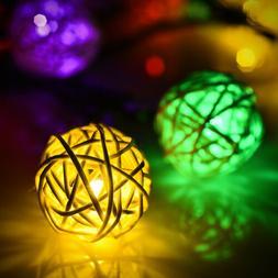 30LED Outdoor Solar String Lights Rattan Globe String Light