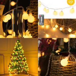33 FT 100 LED Globe Ball String Lights Fairy Plug In W Remot