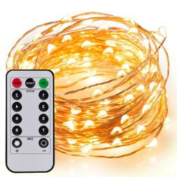 33ft 100 LED Fairy String Lights Strip Copper Wire AA Batter