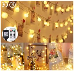 33ft 100 LED Globe String Lights Plug in 8 Dimmable Lighting