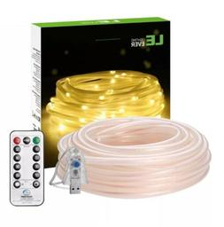 33ft 100 LEDs Rope String Lights Remote Control, USB Dimmabl