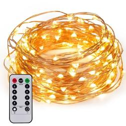 33FT 100LED Fairy String Light Strip Copper Wire Battery Pow