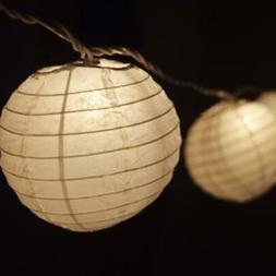 10 Socket White Round Paper Lantern Party String Lights