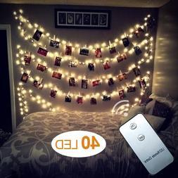 AOSTAR 40 LEDs Photo Clips String Lights  Remote Control Fai