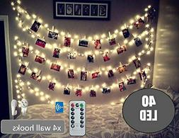 BestCircle 40 LED Photo Clip String Lights 20 Ft, Remote Con