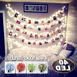 40 LED Photo Clips String Lights,18ft Battery Powered Indoo