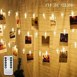 Twinkle Star 16.4 ft 40 Photo Clips String Lights Battery Op