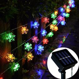 Solar Powered Snowflake String Fairy Lights Xmas Garden Outd