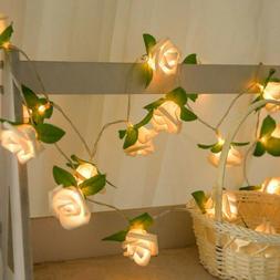 """45"""" 20Led Rose Flower Fairy String Lights Lamp for Wedding R"""
