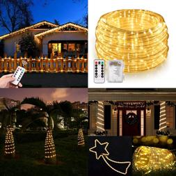 46Ft LED Rope String Lights Outdoor Battery Powered Remote 8