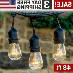 48 FT Outdoor String Lights Patio Garden Yard Waterproof Com