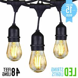 48ft led outdoor waterproof commercial patio string