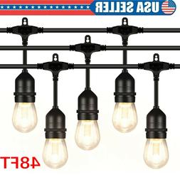 48FT Outdoor LED String Lights Bulb Waterproof Commercial Gr