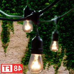48FT Outdoor String Lights Edison Bulb Commercial Waterproof