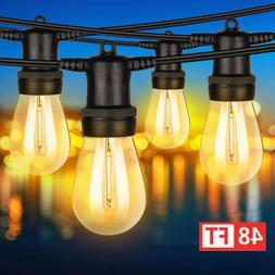 48FT Outdoor String Lights Edison Lamp Bulbs Commercial Gard