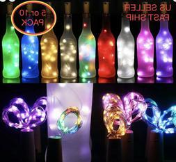 5/ 10pc Wine Bottle Fairy String Lights 20 LED Battery Cork