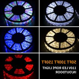 50/100/150FT LED Rope Light Strip Indoor Outdoor Waterproof