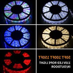 50/100/150FT LED Rope Light Strip Indoor Outdoor Waterproof