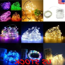 50/100 LED Battery Fairy String Lights Silver Rice Wire Part