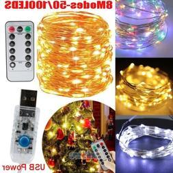 50/100 LED USB Copper Wire Fairy String Lights X'mas Tree Pa