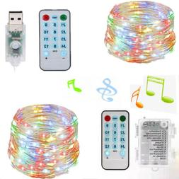 50 100 LEDs String Lights Battery Music Sound Remote Control