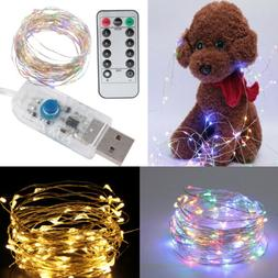 50/100LED Copper Wire String Lights USB Plug-in Fairy Lights