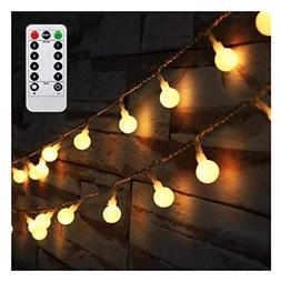 50 LED Globe String Lights Battery Powered With Remote Light