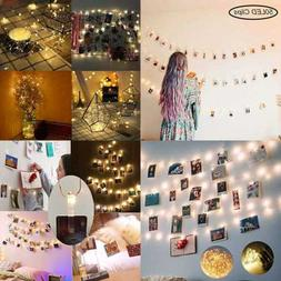 50 LED Photo Clip String Lights Battery Operated Fairy W For