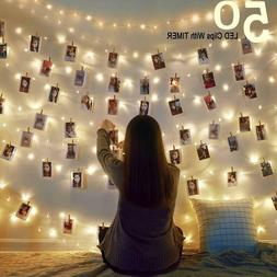 50 LED Photo Clip String Lights Fairy Lights Battery Operate