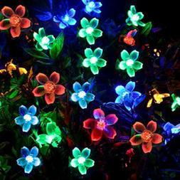 50LED Solar Power Cherry Fairy Light String Lamp Party Xmas