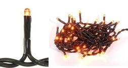 50 ORANGE Halloween TEENY RICE String Lights 11 Ft Black Cor