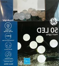 "50 GE StayBright Warm White LED ""Sugar Plum Pearl Shape"" Str"