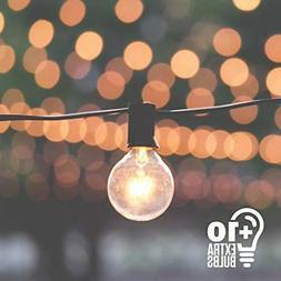 50ft Black String Lights 60 G40 Globe Bulbs 10 Extra: Connec