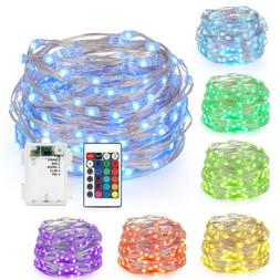 16FT 50LED Light Strip Color Changing Battery Powered Copper