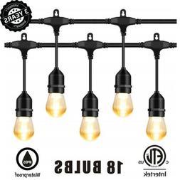 Morsen 52FT 18 LED Outdoor Waterproof String Lights Patio Pa