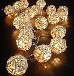 5M 20 LED Warm White Rattan Ball LED String Christmas Weddin