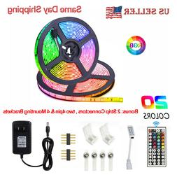 5M RGB Waterproof LED Strip Light SMD 44 Key Remote 12V US P
