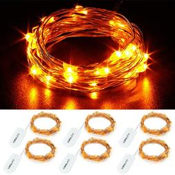 6 Pack Orange Fairy Lights 7.2FT Silvery Copper Wire 20 LED