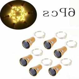 6 x Wine Bottle String Lights 10 LED Solar Powered Copper Co