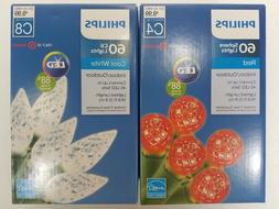 PHILIPS 60 LED CHRISTMAS PATIO STRING LIGHTS RED or WHITE IN