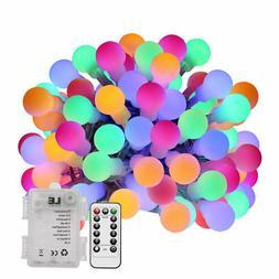 60 LEDs 19.68ft Globe String Lights Multi-color Battery Powe