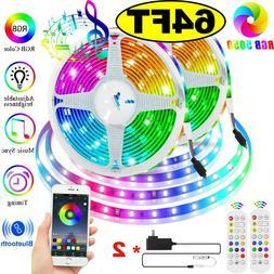 65.6 FT RGB 5050 Bluetooth Led Strip Lights SMD 24 Key Remot