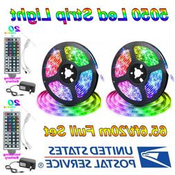 65.6ft 5050 RGB Flexible LED Strip Light Remote Fairy Lights