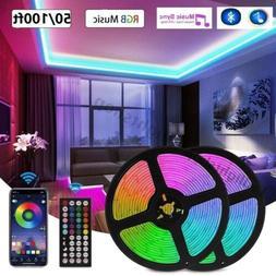100ft 50ft LED Strip Lights 5050 RGB Bluetooth Color Change
