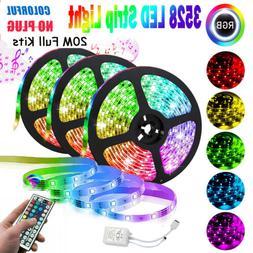 66FT RGB Flexible LED Strip Light 3528 SMD Remote Fairy Ligh
