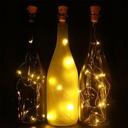 6X Solar 10 LED Wine Bottle Cork Stopper String Light FOR Fa