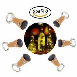 6x Solar Warm Wine Bottle Cork Shape Lights 10 LED Night Fai